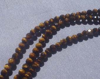 natural gemstone golden brown bands tiger eye facet round bead 4 mm / 15 inch