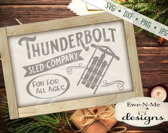 Winter SVG file - Sled SVG - Thunderbolt Sled svg - Christmas svg - Old Fashioned Sled svg -  Commercial Use svg, dxf, png and jpg files
