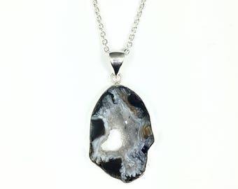 50% OFF Sparkly Druzy Pendant Necklace, Large Agate Slice Pendant