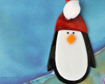 Penguin, Fused Glass, Holiday Ornament, Decoration, Christmas, Winter, Gift, Glass, Ornament, Black and White, Winter Bird, 089