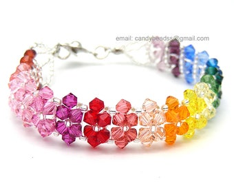 Rainbow bracelet; crystal bracelet; Swarovski bracelet; Glass bracelet;Spectrum rainbow twisty Swarovski Crystal Bracelet