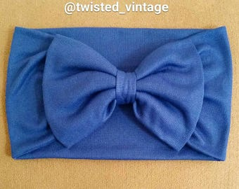 Antique Navy Blue Girls Bow Turband Headwrap