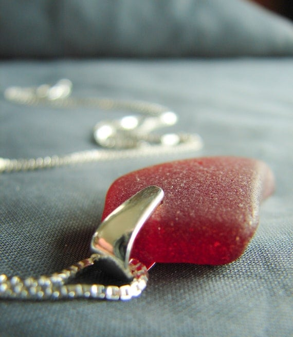 Selkie red sea glass necklace
