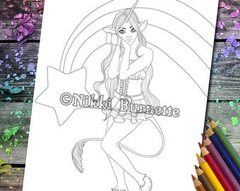 Coloring Page - Digital Stamp - Printable - Fantasy Art - Stamp - Adult Coloring Page - HALLIE - by Nikki Burnette
