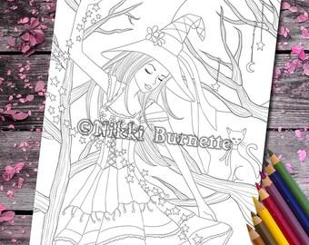 Coloring Page - Digital Stamp - Printable - Fantasy Art - Stamp - Adult Coloring Page - FARRAH - by Nikki Burnette