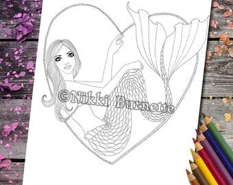 Coloring Page - Digital Stamp - Printable - Fantasy Art - Stamp - Adult Coloring Page - RAMONA - by Nikki Burnette