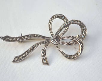Marquisite Brooch, Vintage 1950's Brooch, Ribbon Bow Brooch, Sterling Brooch, Marquisite Bow Pin