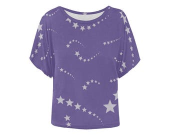 Ultra violet stars top batwing shirt purple space unusual 2018 colour of the year unique dolman top loose fit size XS S M L XL 2XL