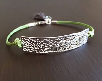 Silver Leaf Vein Bar Jewelry Bracelet - Leaf Venation Charm - Green Cords - Woodland Bracelet - Gift for Her - Boho Bracelet - Wedding Gift