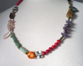 Necklace mid length colorful mix of gemstones and beads Many Treasures