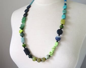 Green and blue long necklace mixed beads and gemstones Many Treasures