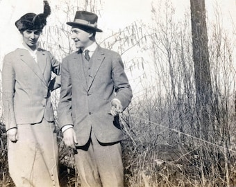 Vintage photo 1917 Katherine & John He Pulls Trip Wire Takes Selfie Photo in Grass
