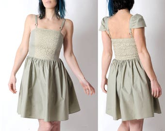 Light green dress, Almond green summer dress with straps or cap sleeves, Cotton and lace short dress, Green womens dresses, MALAM, FR38/UK10