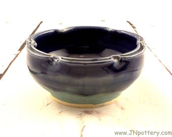 Ceramic Bowl - Split Rim Candy Dish - Fluted Ice Cream Bowl - Royal Blue / Cerulean Green - Condiment Server Dish - Ready to Ship b384