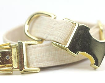 Gold Dog Collar, Personalized Dog Collar optional, Crosshatch Collar, Four Hundred