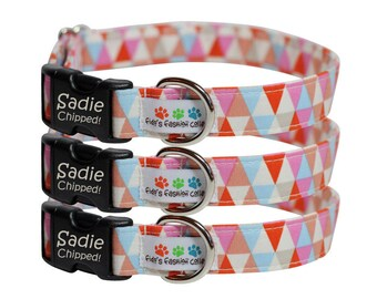 Personalized Engraved Dog Collar - Triangle Multi