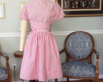 Circus dress in red striped pima cotton. Made to order 1960's style dress