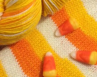 Candy corn self striping sock yarn - In Stock!