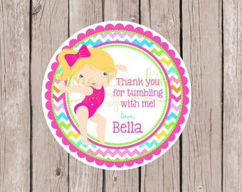 Gymnastics Birthday Party Favor Tags or Stickers / Choose Hair & Skin Color / Hot Pink and Rainbow Chevron / Set of 12