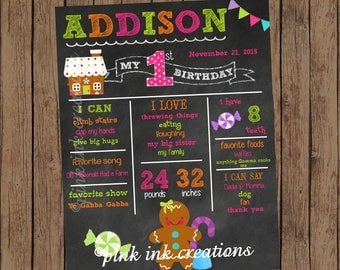 GINGERBREAD Chalkboard Birthday Sign / Girl Gingerbread Chalkboard / Birthday Chalkboard Sign / Chalkboard Birthday Poster / PRINTABLE