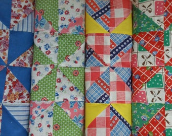 Four LARGE Vintage Quilt Blocks