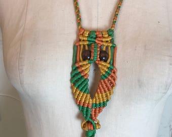 1960s necklace hippie necklace owl necklace macrame necklace vintage necklace bohemian necklace novelty jewelry