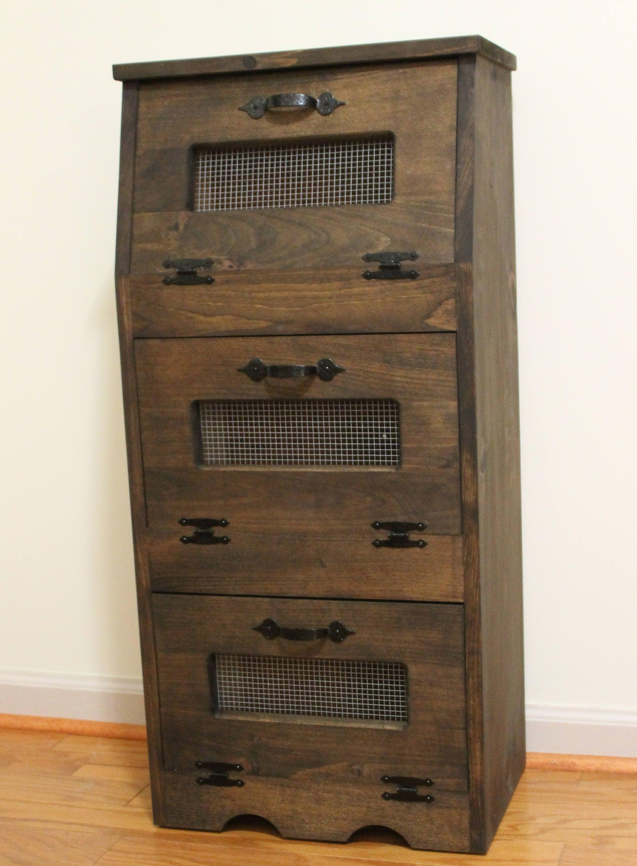 bread box wood vegetable bin potato onion storage cupboard. Black Bedroom Furniture Sets. Home Design Ideas