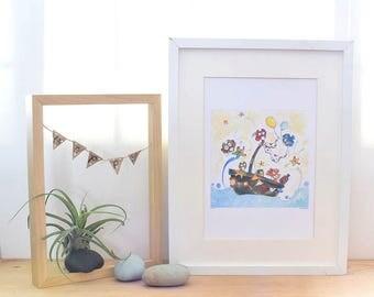 celebration, owl wall art, nautical nursery, children's room wall decor, owl birthday, boat, whimsical, pirate, boat, owl gift