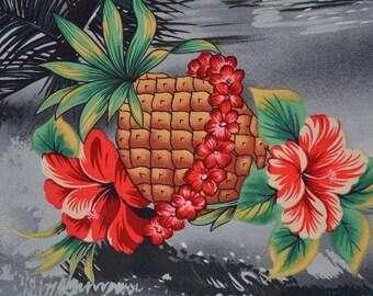 Vintage Hawaiian Tropical fabric Pineapple Aloha rayon fabric grey landscape Shamash and sons Tiki shirt fabric