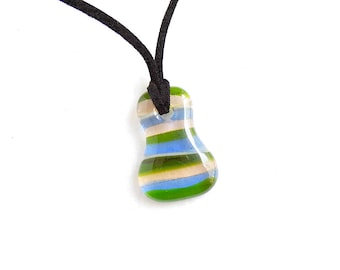 Striped Glass Pendant in Blue, Green, and Pink, Pendant Necklace, Multiple Colors, Handmade Jewelry