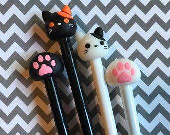 Paw print pens, paw pen, animal pens, cat pen, dog pen set of 4 animal face pens, cute kawaii pens