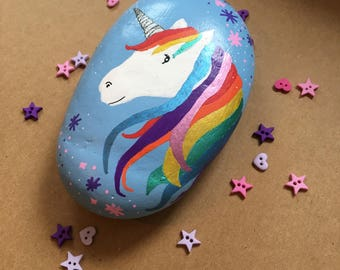 Magical unicorn painted rock / stone