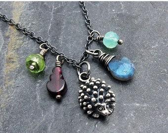 hedgehog necklace, hedgehog pendant, hedgehog jewelry, sterling silver hedgehog, garnet, Peruvian opal, labradorite, hedgehog charm,
