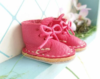 Lace Up Shoes Mini Leather Fuchsia Dark Pink Lace Up Boots For Neo Blythe Doll Azone Pure Neemo M S Body Hand Made By MizuSGarden