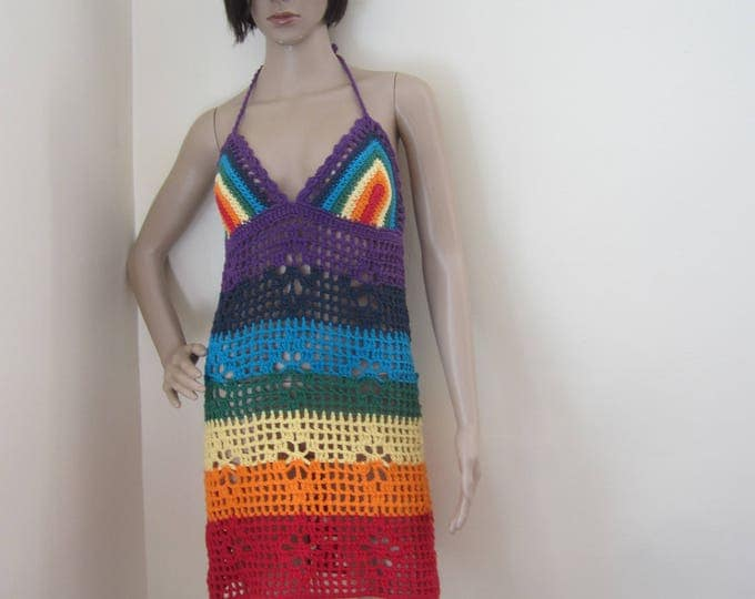 CROCHET DRESS, rainbow dress, CHAKRA Crochet dress, beach cover up, sheer crochet dress, bikini cover, festival, hippie, boho crochet dress