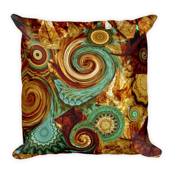 Throw Decorative Blue Brown Kaleidoscope Designer Artist Created Pillow 18 inch Square with Zipper and Insert