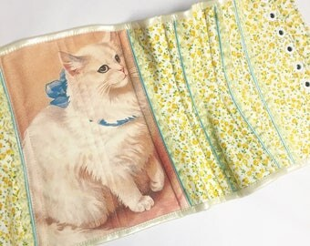 Cat Lady Yellow Floral Steel Boned Underbust Corset - Pick Your Size - LIMITED EDITION - Handmade Vegan Bridal