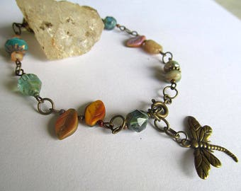 Brass Dragonfly Anklet, Glass Bead Ankle Bracelet, Gypsy Soul Jewelry, Bohemian Anklet, Artisan Jewelry, Czech glass beads, Moonlilydesigns