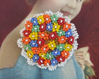 Vintage Seed Bead Pin Czechoslovakia Jewelry