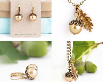 Woodland Jewelry - Gift Set - Acorn jewelry - Nature Jewelry - Thanksgiving - Acorn Necklace - Acorn Earrings - Woodland Wedding