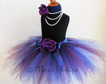 "SUMMER SALE 20% OFF Fall Tutu - Blue Violet - Purple Blue Custom Sewn 13"" Pixie Tutu - sizes newborn up to 5T - Beauty of Autumn Collection"