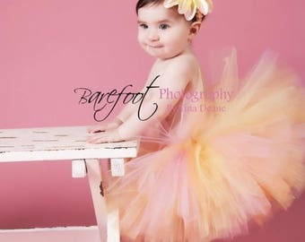 "SUMMER SALE 20% OFF Peach Tutu, Pink Tutu, Girls Tutu, Baby Tutu, Photo Prop Tutu, Honey Tutu, 8"" Tutu, Pink Orange Yellow Tutu, Birthday Tu"
