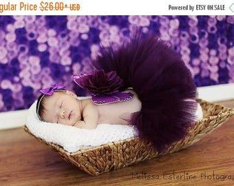 SUMMER SALE 20% OFF Purple Tutu, Eggplant, Plum Purple Girls Tutu, Custom Sewn Tutu, 6'' length, sizes Newborn to 5T