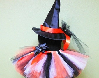SUMMER SALE 20% OFF Halloween Witch - Custom Sewn Tutu Costume - Custom Decorated Witch Hat and Black White Orange Tutu - sizes up to 5T - p