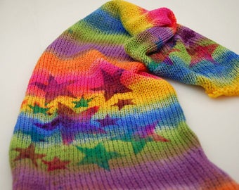 Double Knit sock blank-Rockstar Rainbow-yellow,green,blue,purple and pink strip with stars stenciled on top