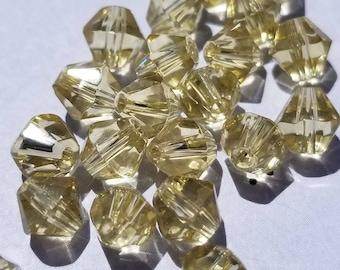 Yellow bicone 6mm Glass beads (28)