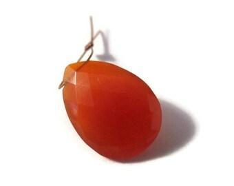 Memorial Day SALE - One Carnelian Bead, Orange Teardrop Briolettes, Pear Shaped Natural Gemstone, Top Drilled Bead, 21mm x 15mm (B-Ca2b)