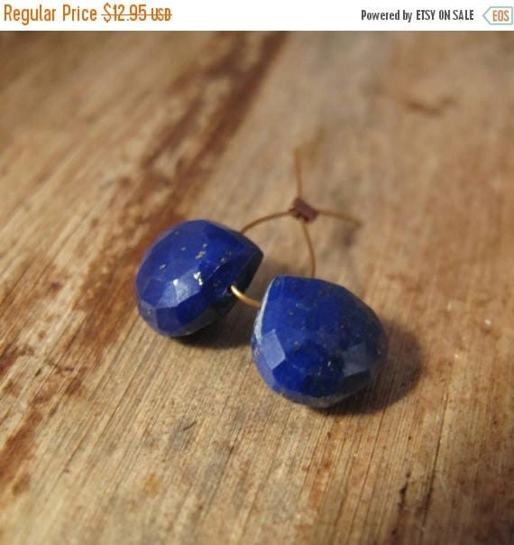 Summer SALEabration - Two Lapis Beads, 2 Matching Natural Lapis Briolettes, Lapis Lazuli Gemstones, 9.5mm x 9.5mm, Blue Beads for Making Jew
