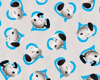 """Quilting Treasures, """"Good Friends"""" Snoopy in Blue Hearts,  yard"""