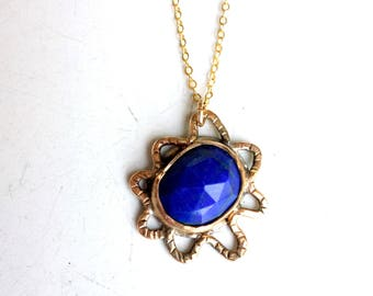 Lapis Lazuli Squiggle Sunburst Pendant Handmade in 14k gold-fill and sterling silver